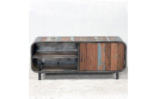 Meuble TV 120 industriel VINTAGE fer et bois de bateau Home - meuble en fer design
