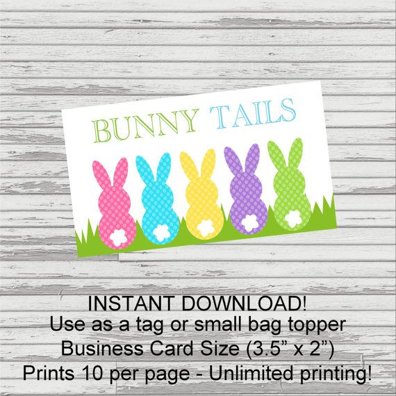 Bunny tails easter tag business card size to attach to classroom bunny tails easter tag business card size to attach to classroom favors neighbor gifts negle Images