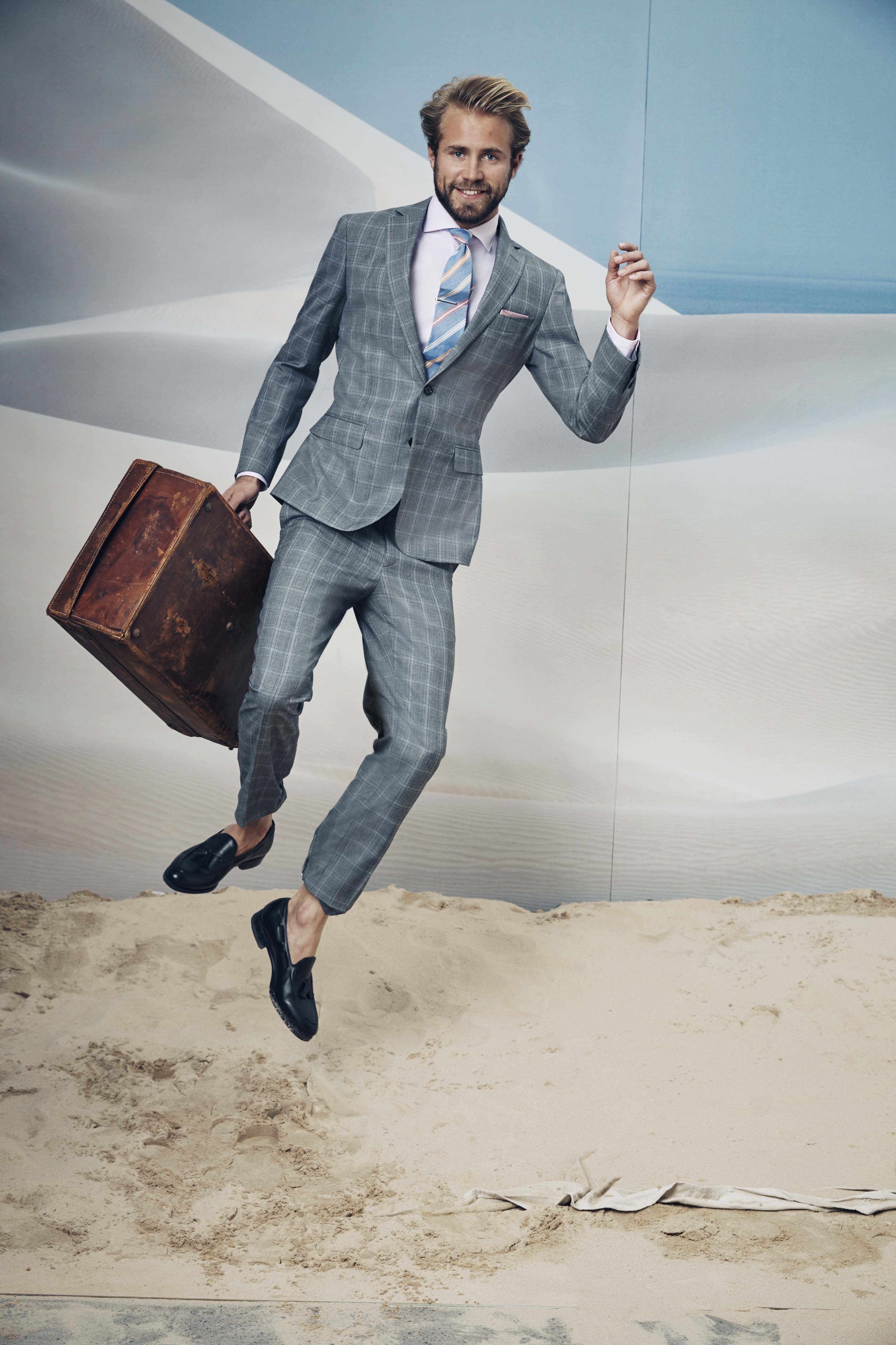 Spire charcoal suit; Pesenti pink shirt; Ellis tie clip; Red ...