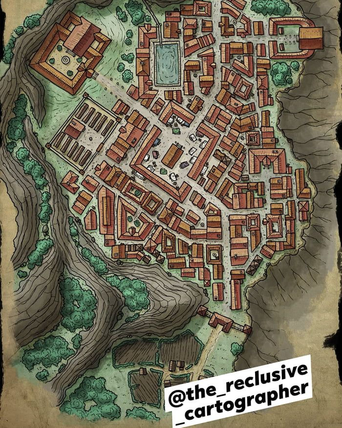 Latest DnD Map I Drew. Roman Inspired Mountain Trading Town. (With Images)