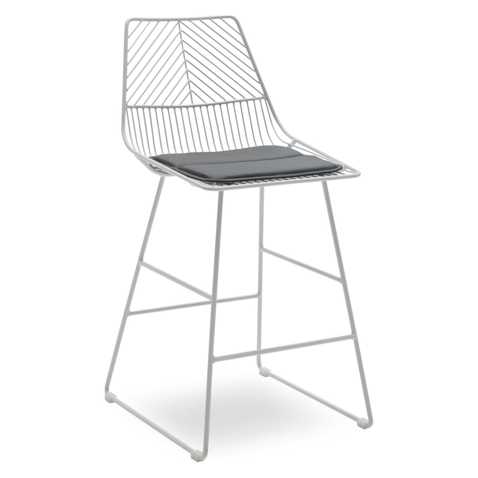 Modrn Scandinavian Metal Counter Stool With Cushion White Gray