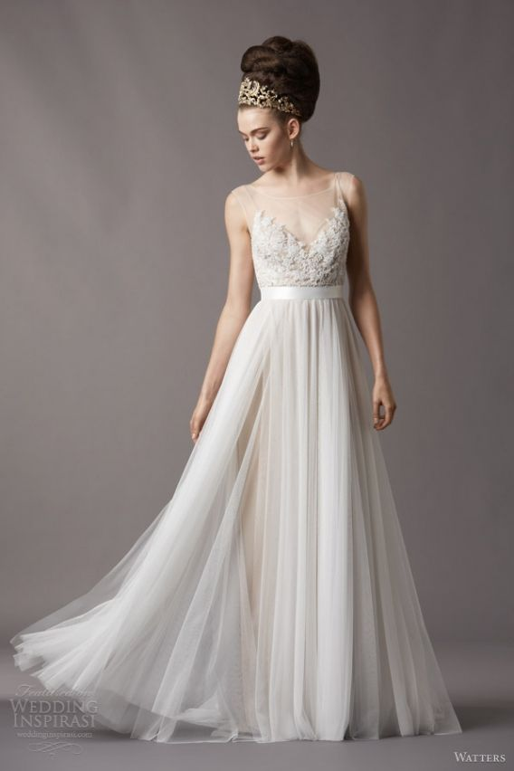 Sheer and tulle wedding dress - Watters Wedding Dresses - Style Jacinda 4061B http://www.bestbridalprices.com/watters-wedding-dresses-style-jacinda-4061b-p116515