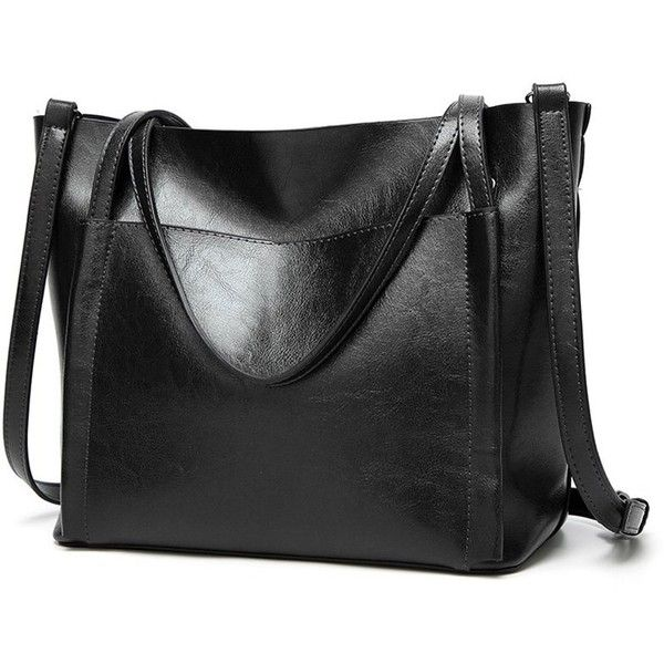 Front Pocket Faux Leather Tote Bag 39 Liked On Polyvore Featuring Bags