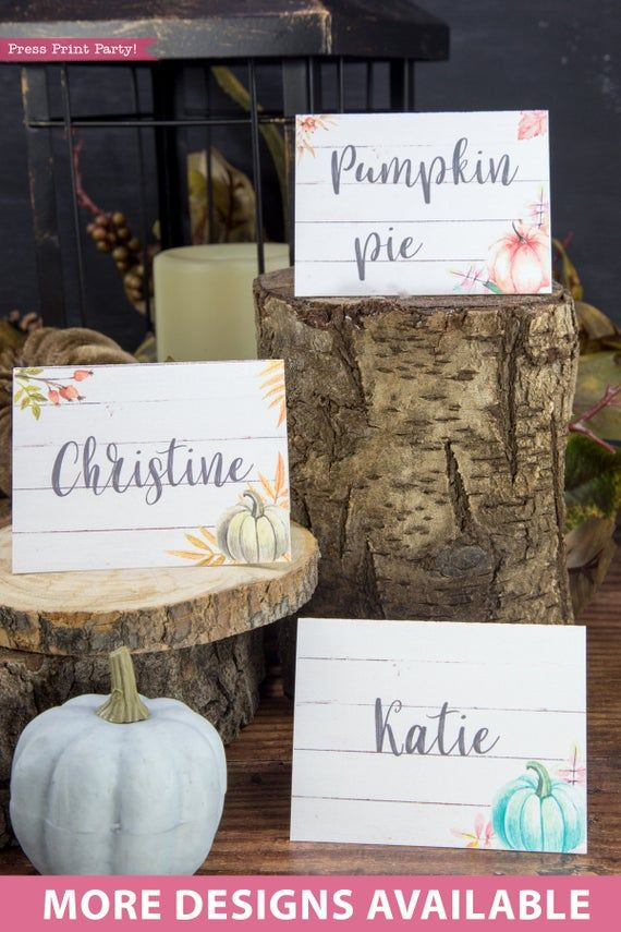 Farmhouse Thanksgiving Place Cards Printable, Green Pumpkin #pumpkindesigns