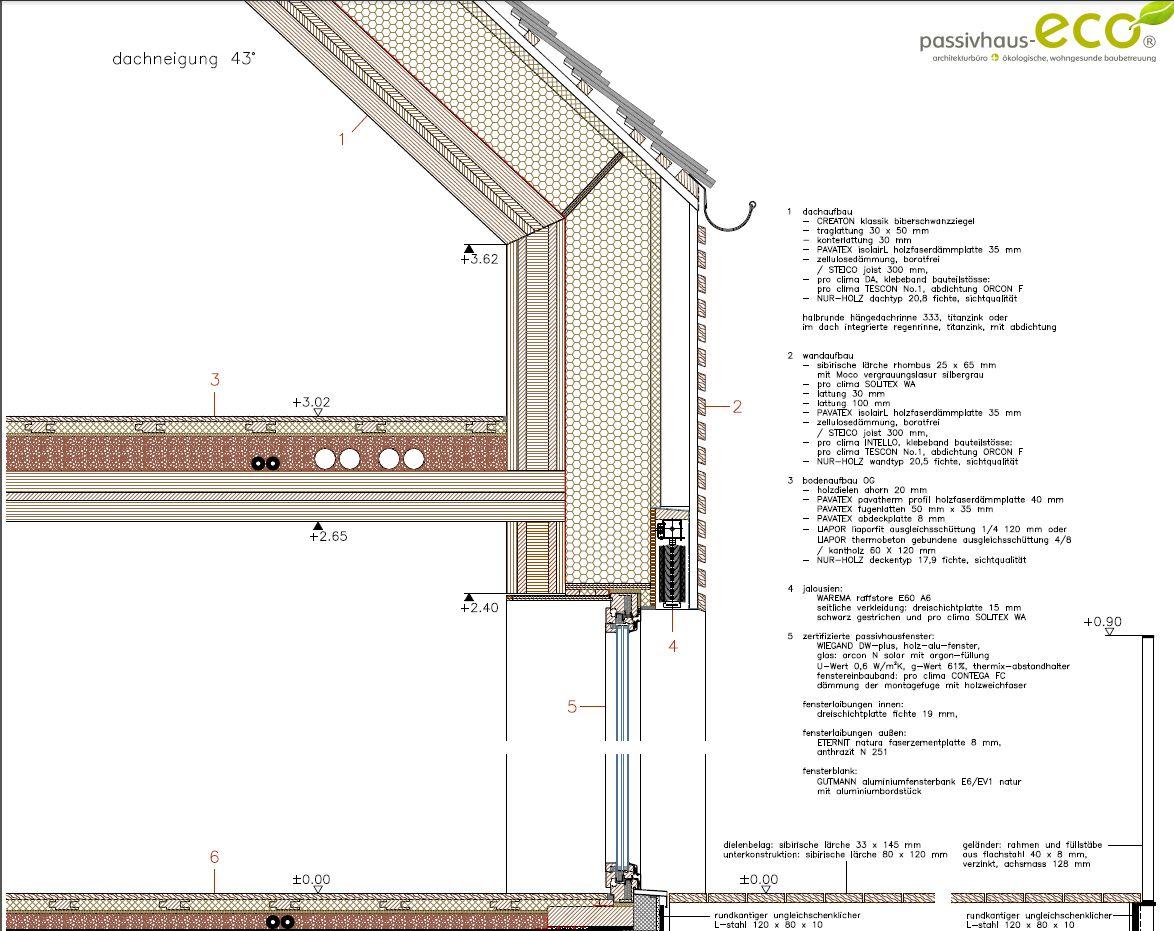 Blog holzbau detail fenster konstruktion pinterest for Fenster detail schnitt