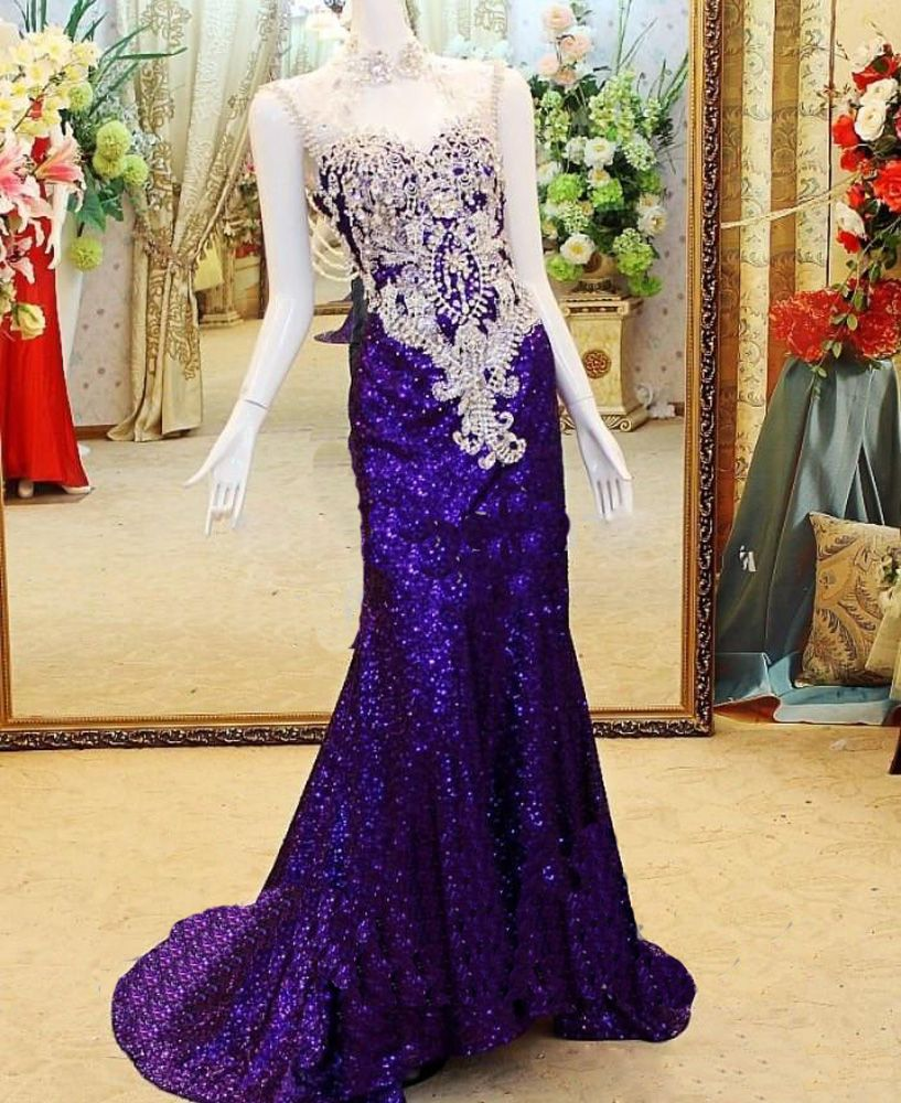 Newest luxury high collar formal evening gowns with rhinestone