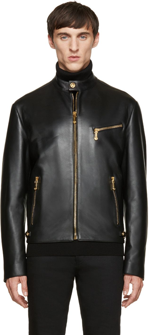 Versace Black Leather Bomber
