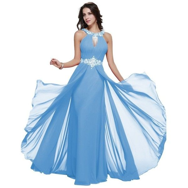 Long Chiffon Prom Dress Halter Neck Beaded Evening Dress Party Gown ($67) ❤ liked on Polyvore featuring dresses, gowns, blue chiffon dress, blue prom dresses, long party dresses, long evening dresses and long prom dresses