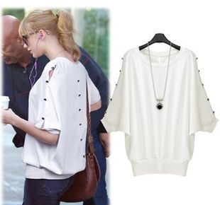2014 new women summer top clothing batwing sleeve round neck solid white casual loose t-shirt blouse  free size