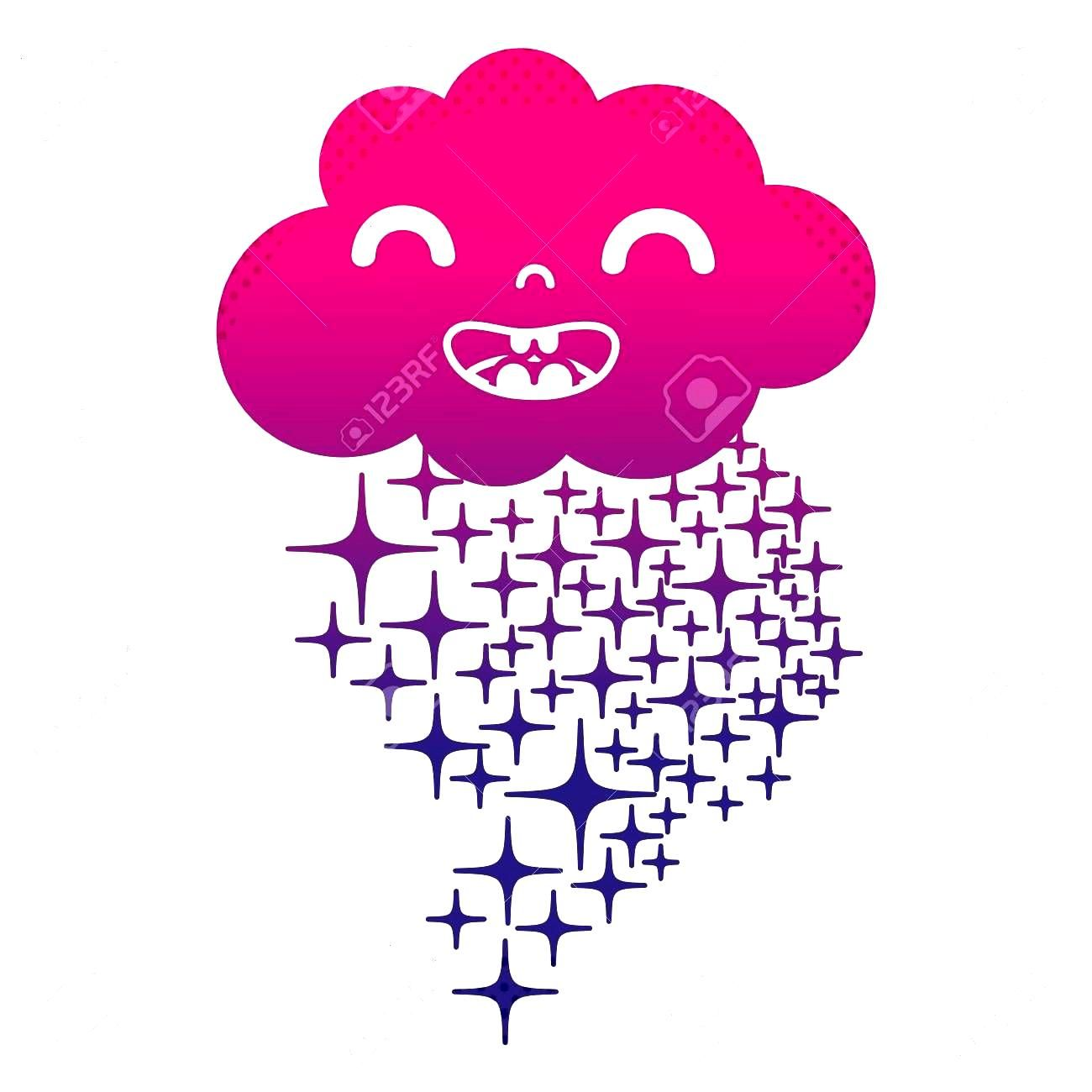 A silhouette happy cloud kawaii with stars rainbow vector illustration ,