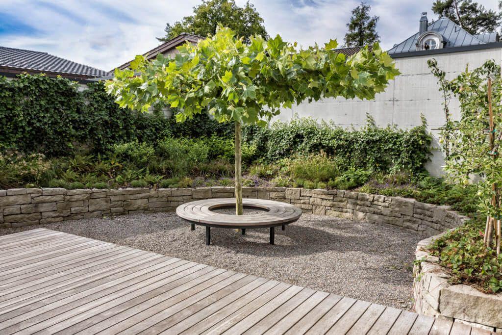 Naturliche Harmonie Im Garten Dieses Hauses Direkt Am See Garten Hinterhof Garten Familiengarten