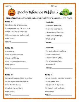 Spooky Inference Riddles 2 , Halloween Printable for ELA