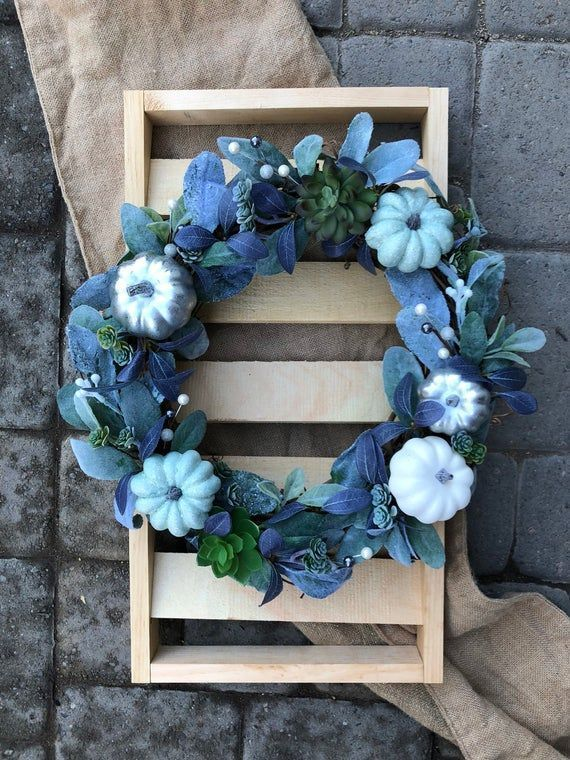 Photo of Fall Wreath-14″ Grapevine Wreath- Pumpkin and Succulent Wreath-Indoor Farmhouse …