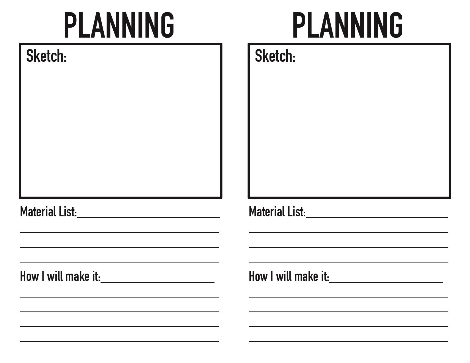 Project Planning Worksheet Students Get One Of These When
