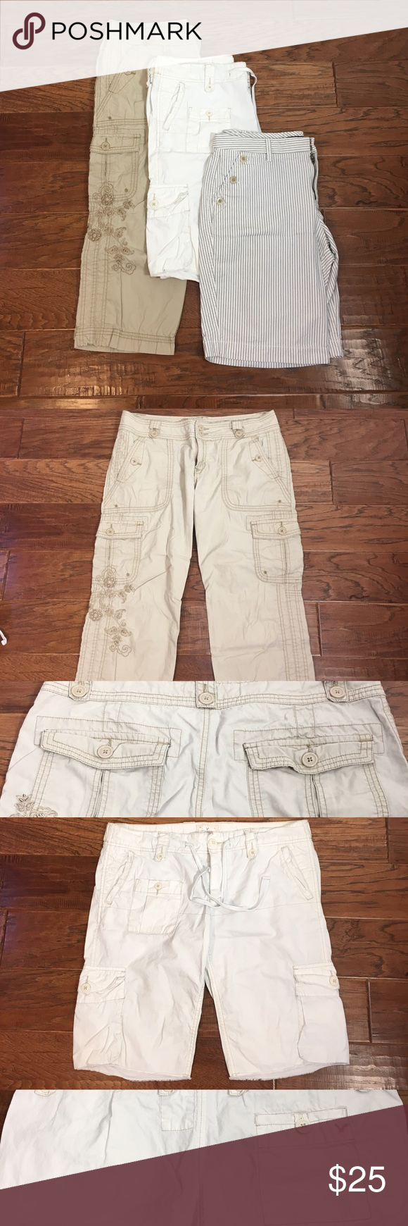 Bundle of 3 size 12 shorts Bundle of three size 12 shorts, all 100% cotton. Capris is from Aeropostale size 11/12. White cargo is from American Eagle Outfitters size 12. Stripe shorts is from Gap size 12. EUC. Shorts
