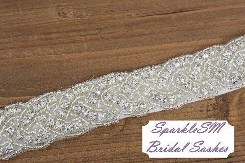 Bridal sash, Wedding sash, Bridal belt, Crystal Bridal Sash, Rhinestone Sash, Jeweled Belt, Bridal Belt, Wedding Gown Belt, Sash - Carina