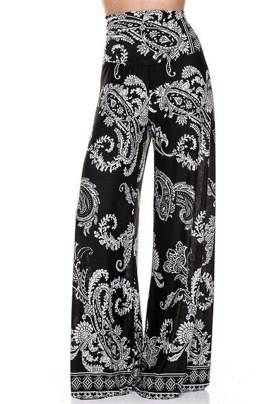 30c3c41e096173 Plus Size Fold Over Waist White Paisley Palazzo Yoga Tall Black ...