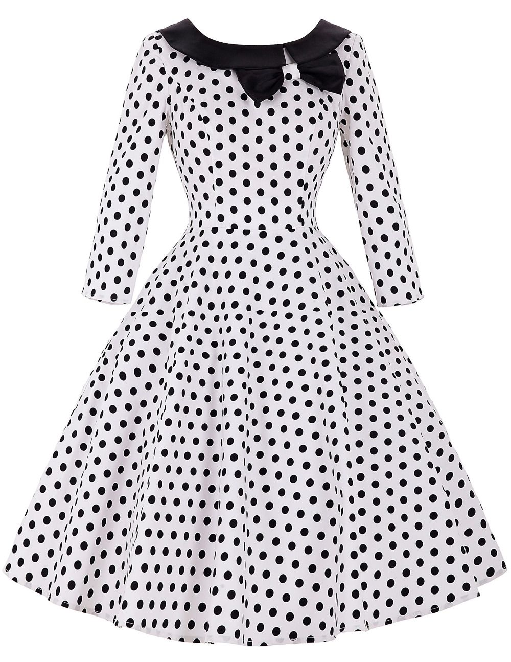 Long Sleeve 50s Rockabilly Dresses 2016 Autumn Winter Vintage ...