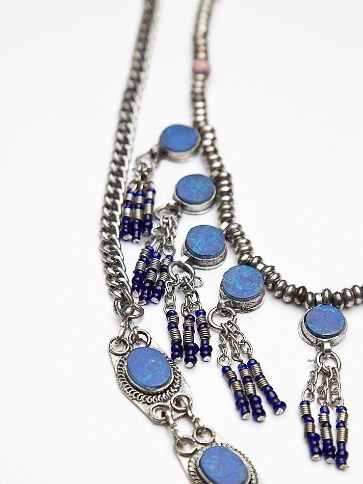 Free People Lapis Fringe Necklace at Free People Clothing Boutique