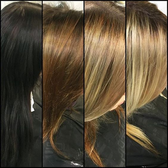 The Journey From Five Years Of Black Box Dye To Blonde Her End Goal Is A High Dark To Light Hair Box Hair Dye Black Hair Dye