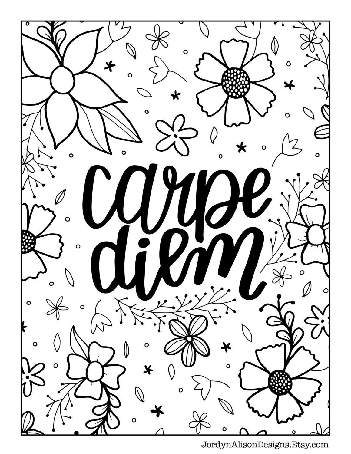 Coloring quotes printables - Carpe Diem Seize The Day Adult Coloring Page Zentangle