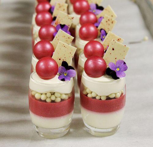 White Chocolate Namelaka, Cranberry Panna Cotta, White Chocolate Crocante, Honey Cremeux | Flickr - Photo Sharing!