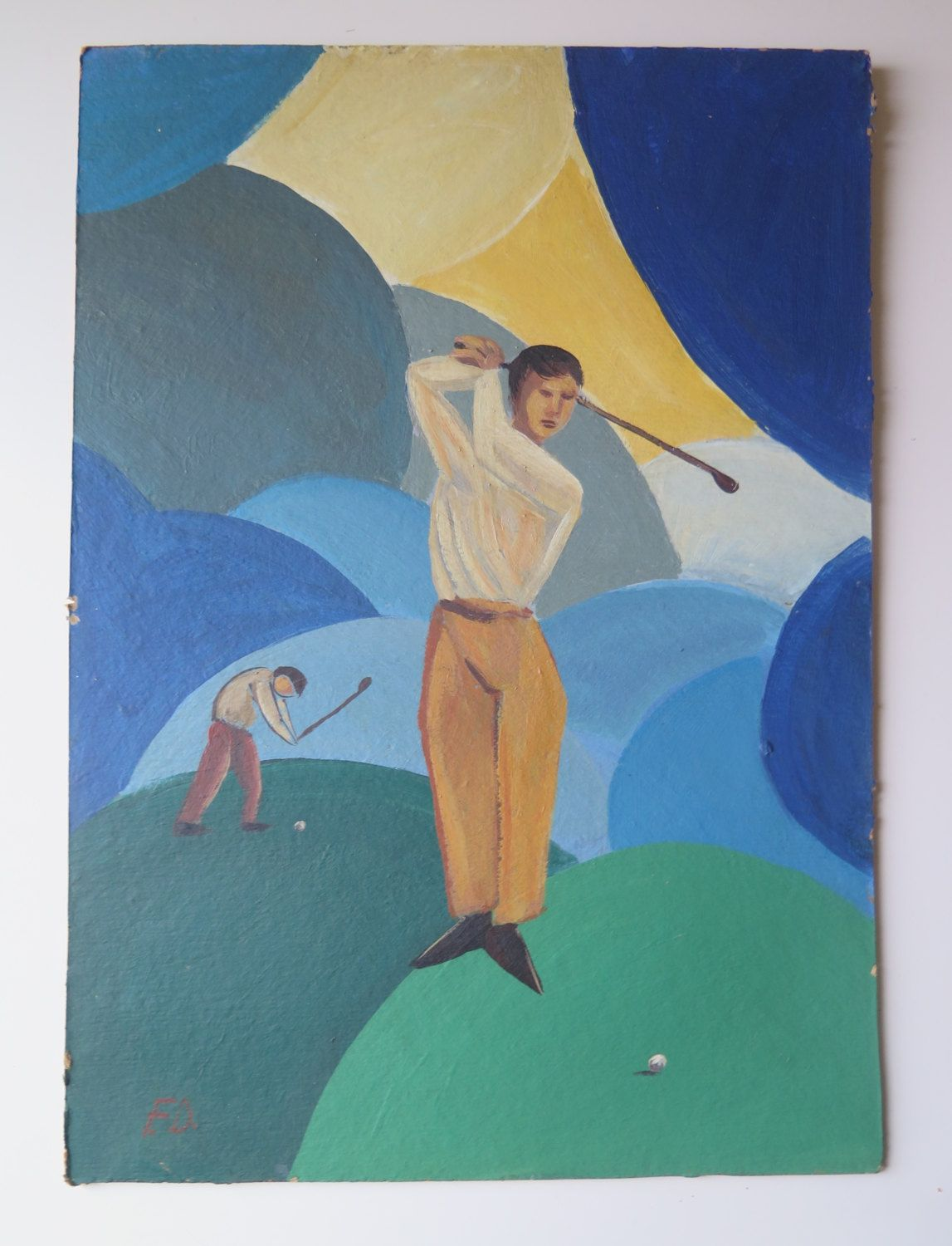 Golf players painting, oil on cardboard, early to mid 20th Century by TitoWanderlust on Etsy