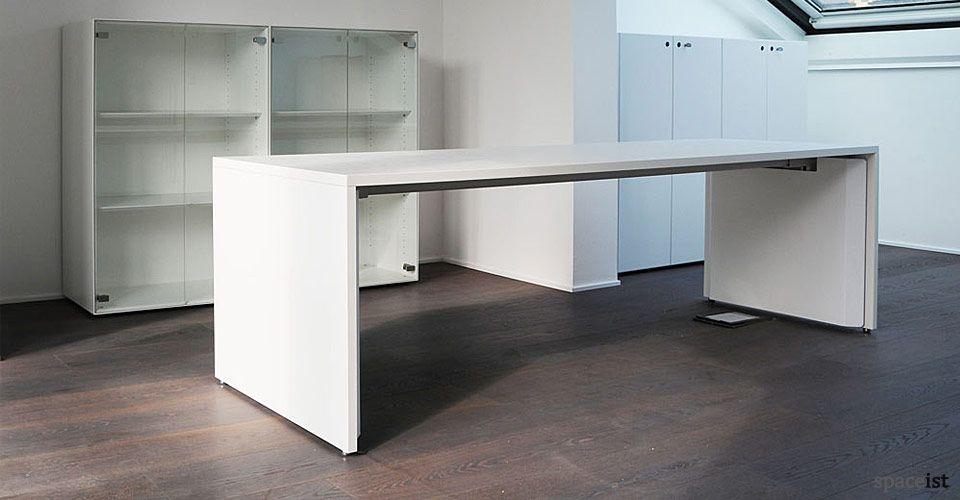 Tre Long White Bench Desk Long Desk Grey Desk White Desk Office