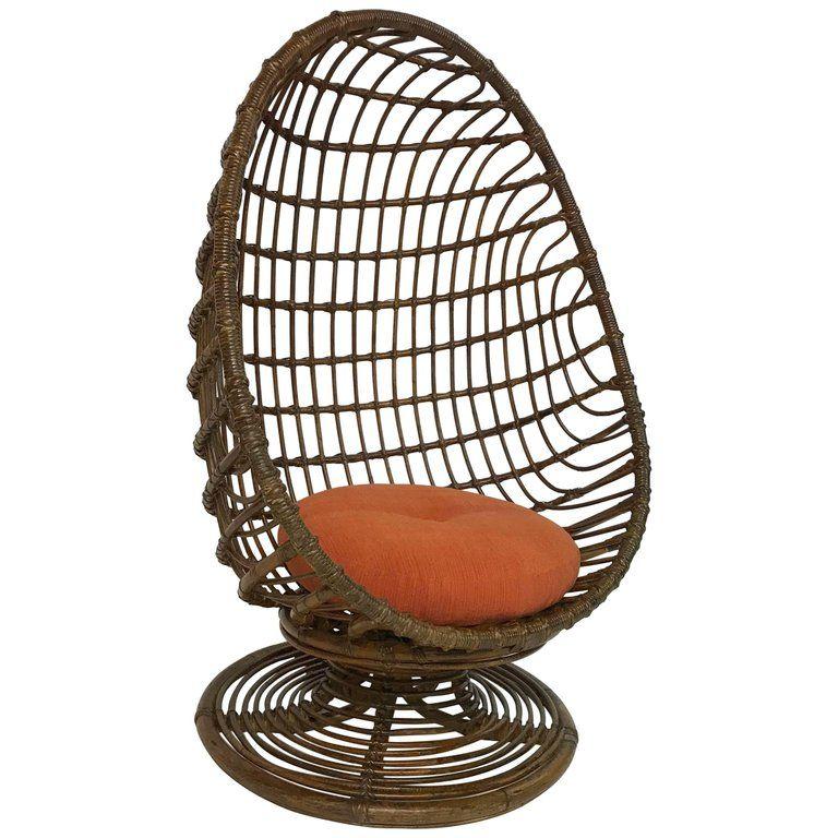 Mid Century Woven Rattan Egg Chair Rattan egg chair, Egg
