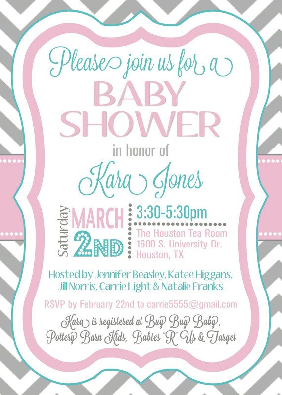 Custom Chevron Baby Shower Invitation Digital By Splendidandspark