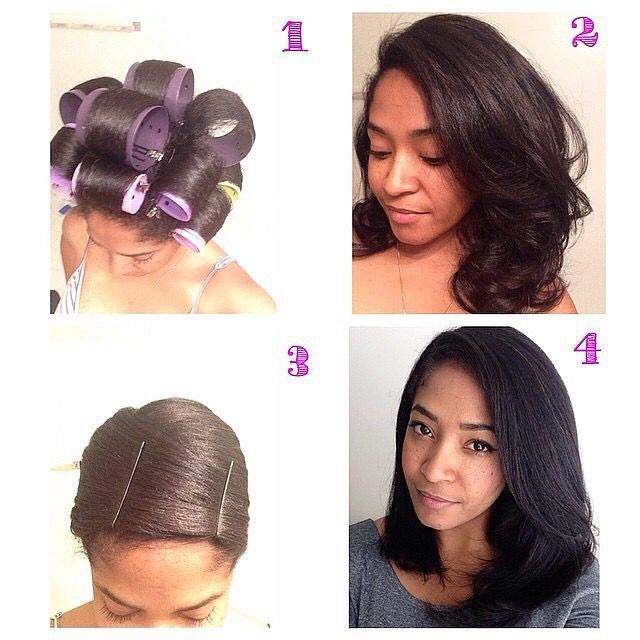 Hair straightening with no heat Use the big rollers to