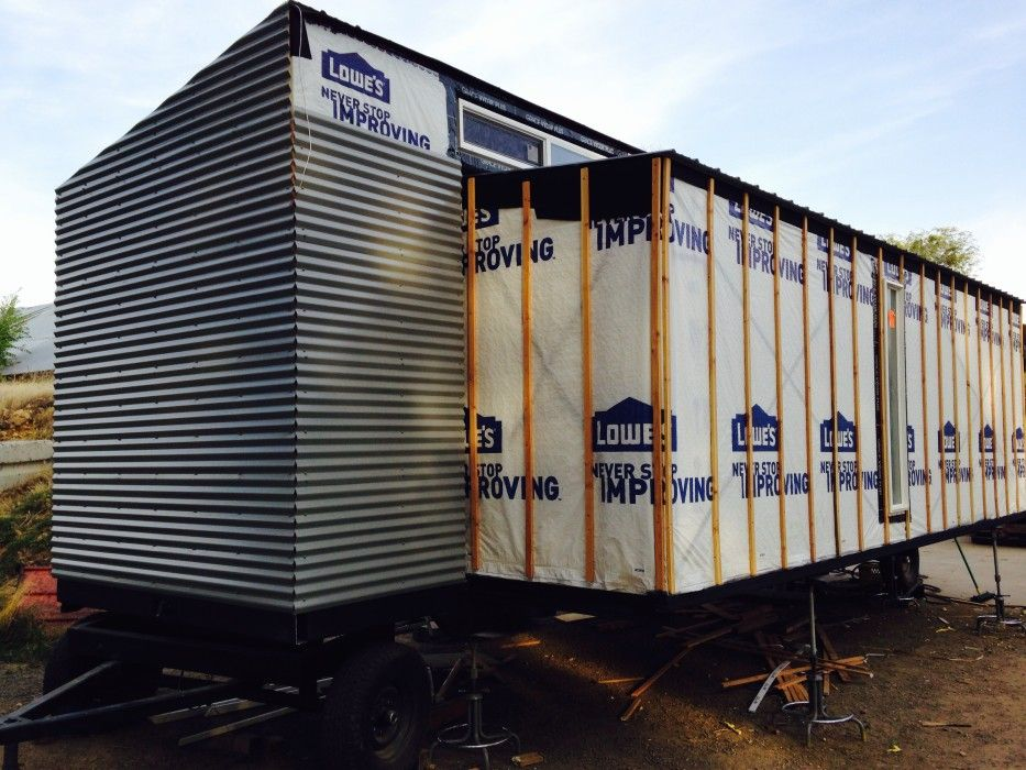 Metal Siding On Front Of Trailer Tiny House Exterior Metal Siding Installation Metal Siding