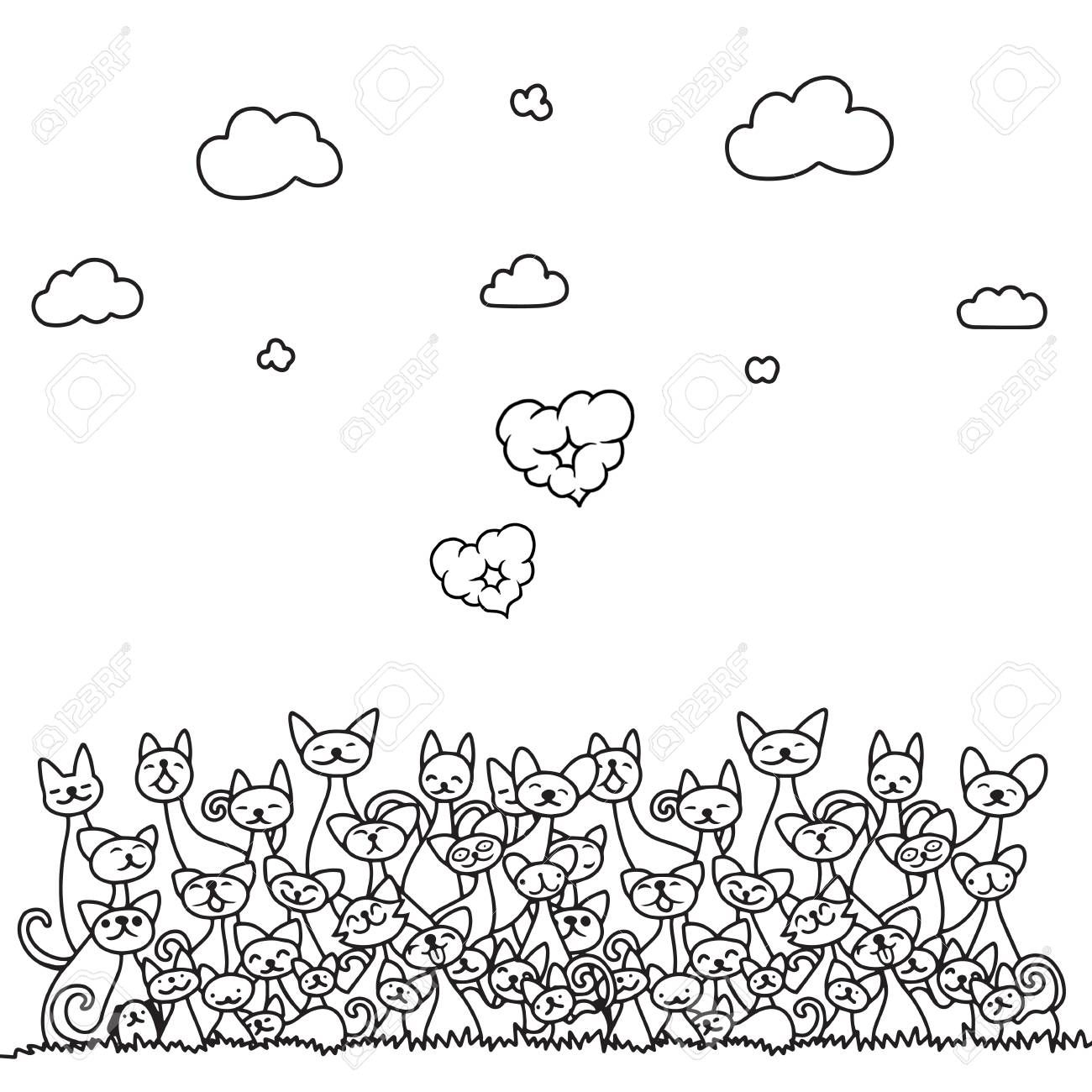 Doodle cats pile with cloud heart and sky . cute