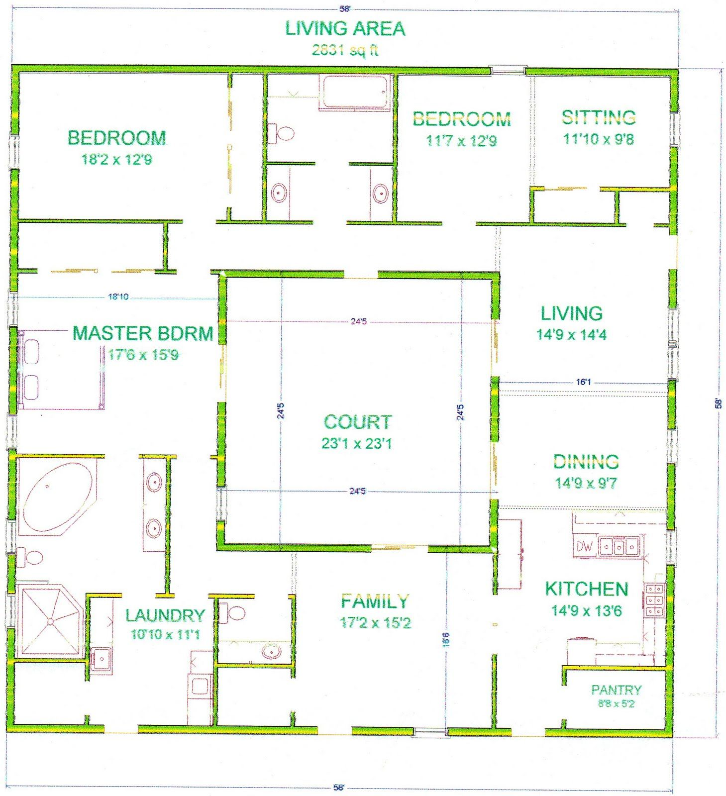 Center courtyard house plans with 2831 square feet this for Courtyard house plans