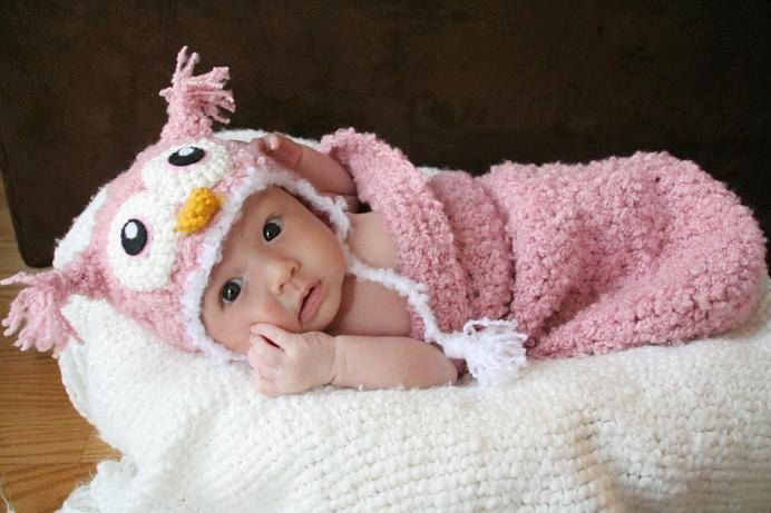 Newborn Baby Pink Owl Crochet Hat and Cocoon Set (Made to Order ...