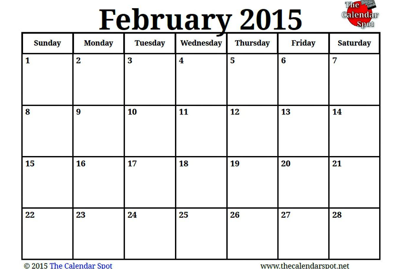 Image For Printable Blank February Calendar