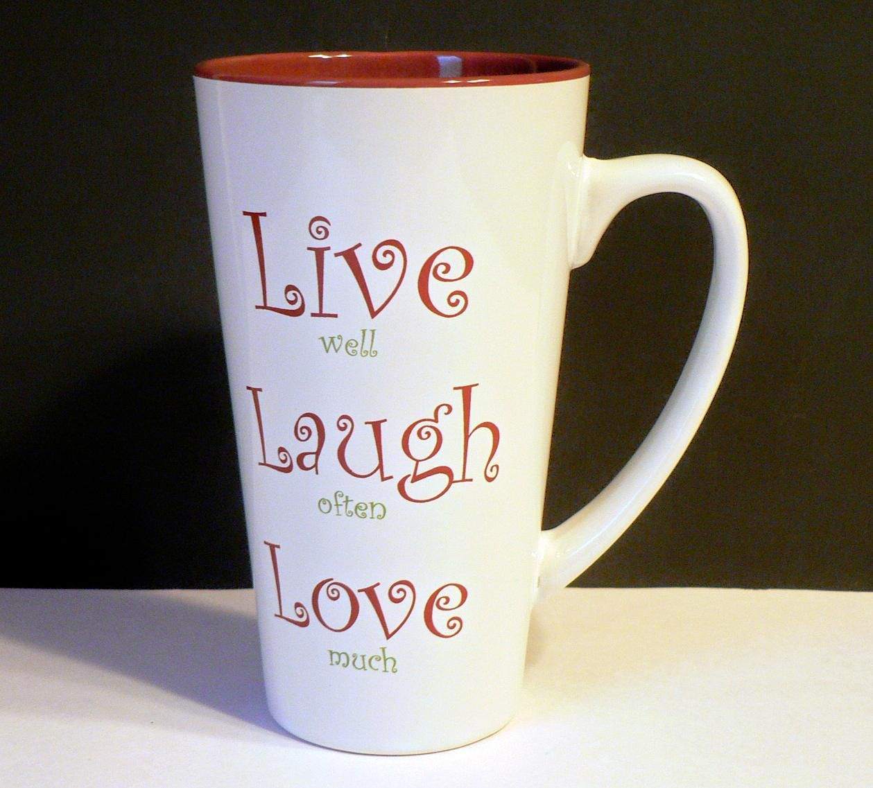 Mulberry Home Collection Live Well Laugh Often Love Much Tall Coffee Latte Mug