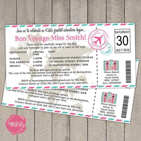 travel theme bridal shower invitations
