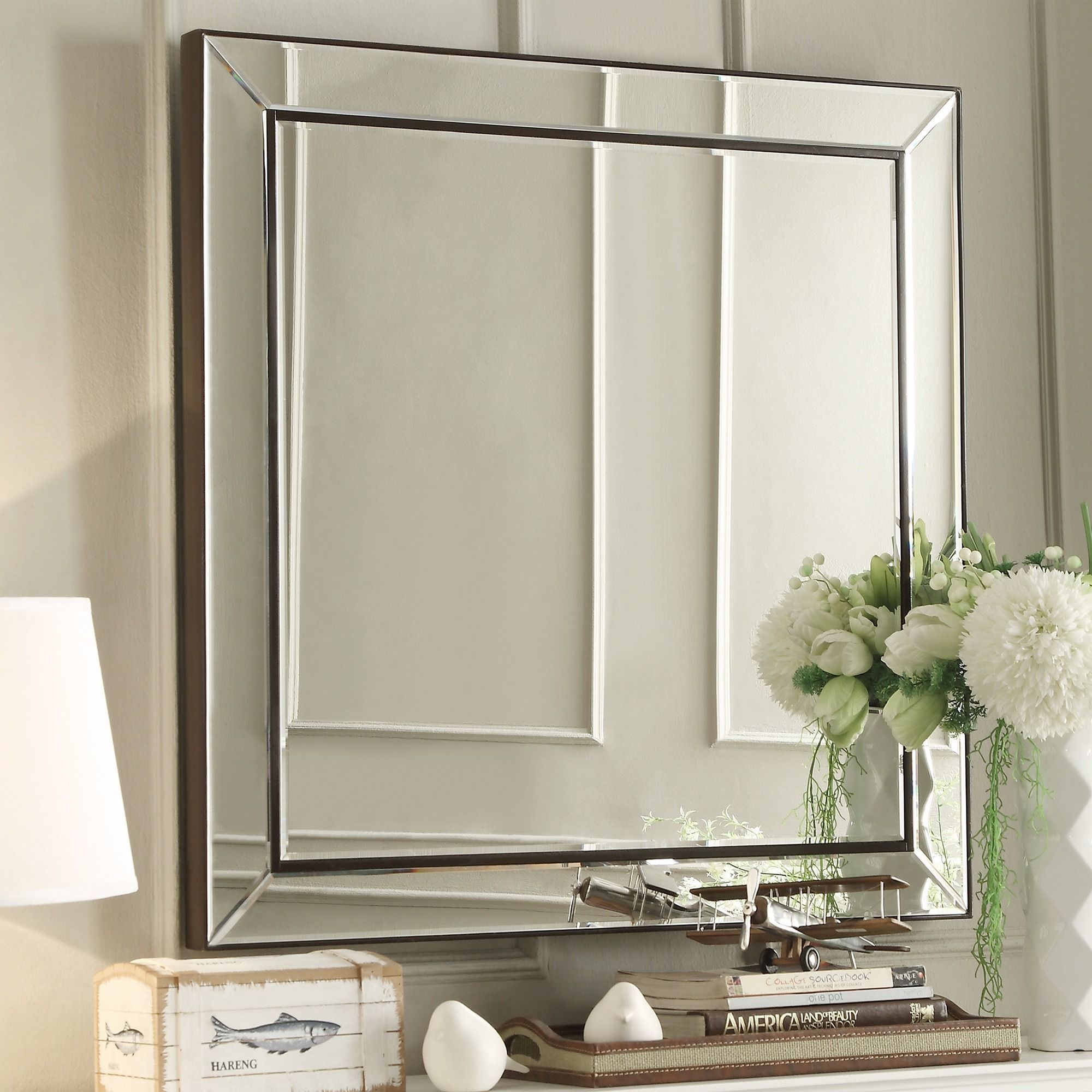 Inspire Q Brinkley Dark Brown Trim Mirrored Frame Square Accent Wall ...