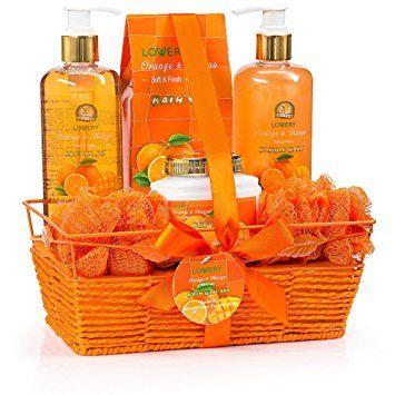 2f20620b9b7e Spa Gift Basket With Exotic Orange   Mango Fragrance -Luxurious 7 Piece  Bath   Body Gift Set For… Review
