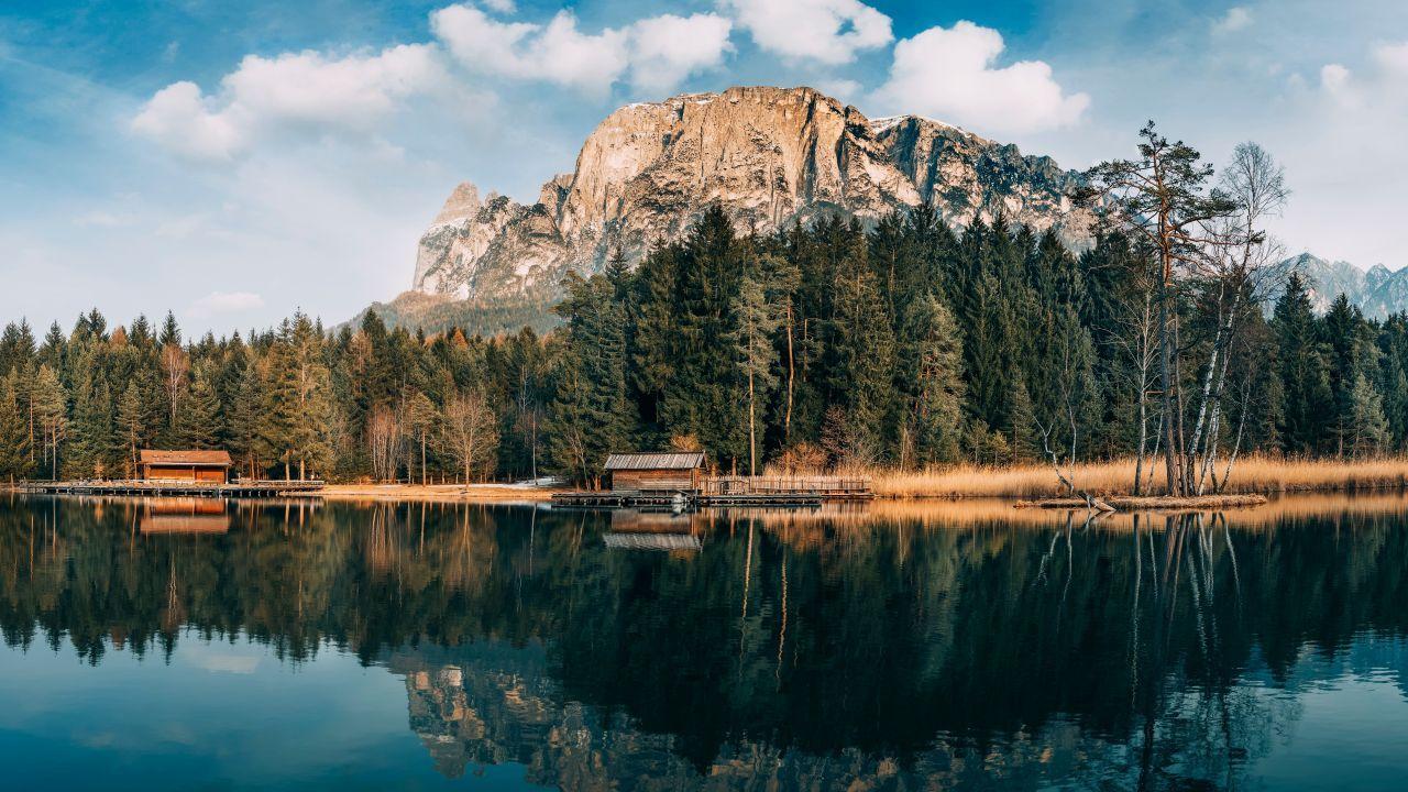 mountains, 5k, 4k wallpaper, 8k, lake, forest (horizontal