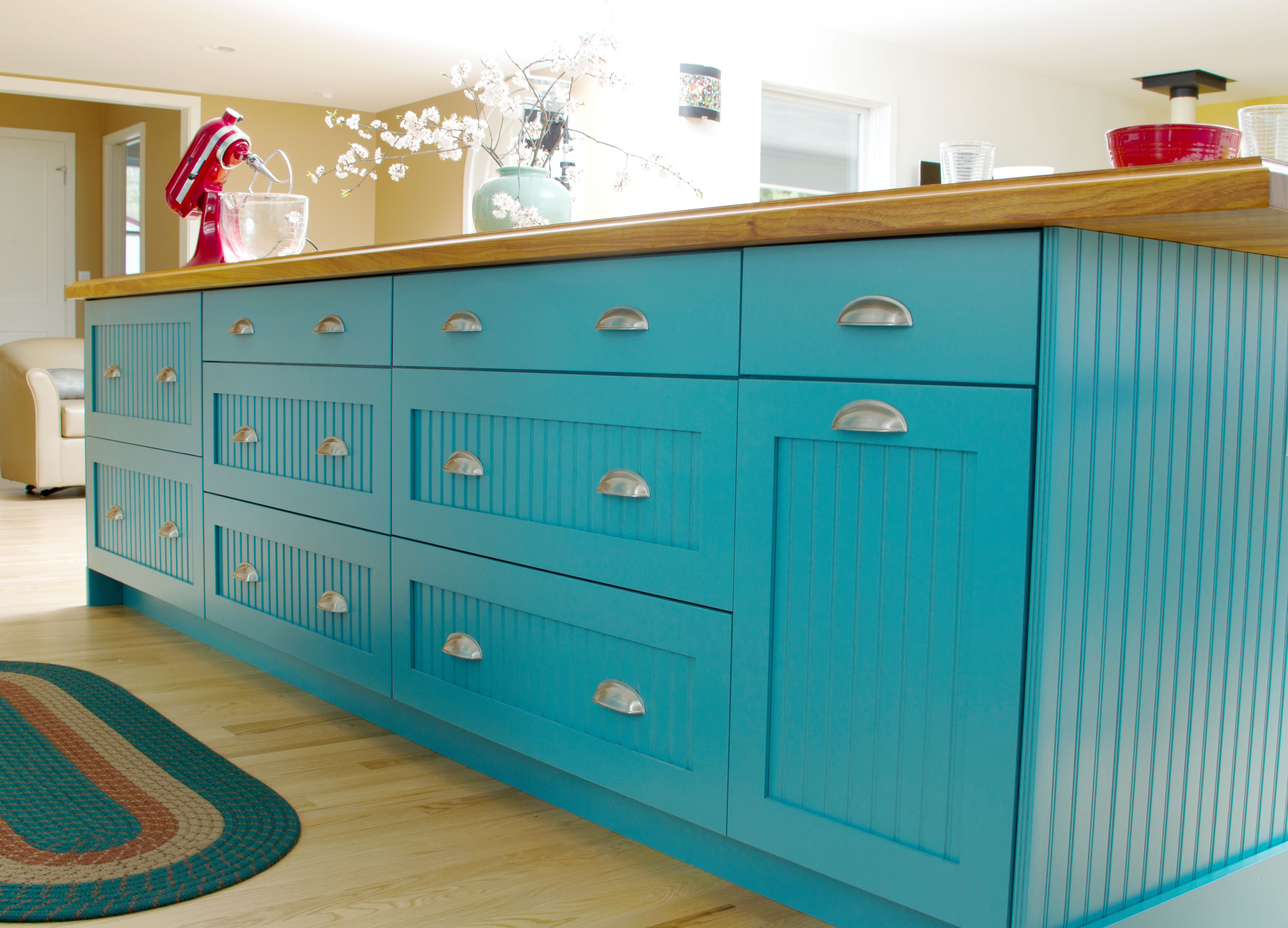 Teal Blue Contemporary Cottage Kitchen Island with Dura Supreme ...