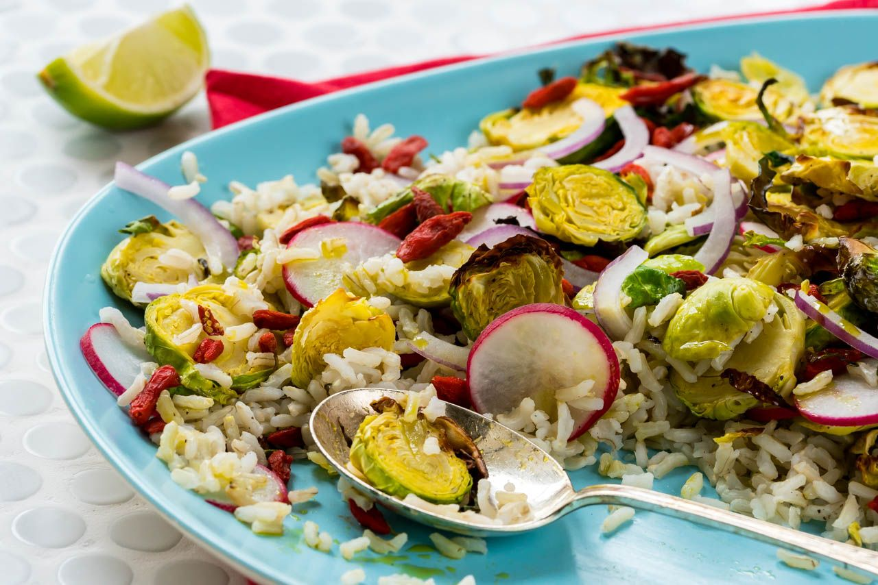 Brussels sprouts & brown rice salad