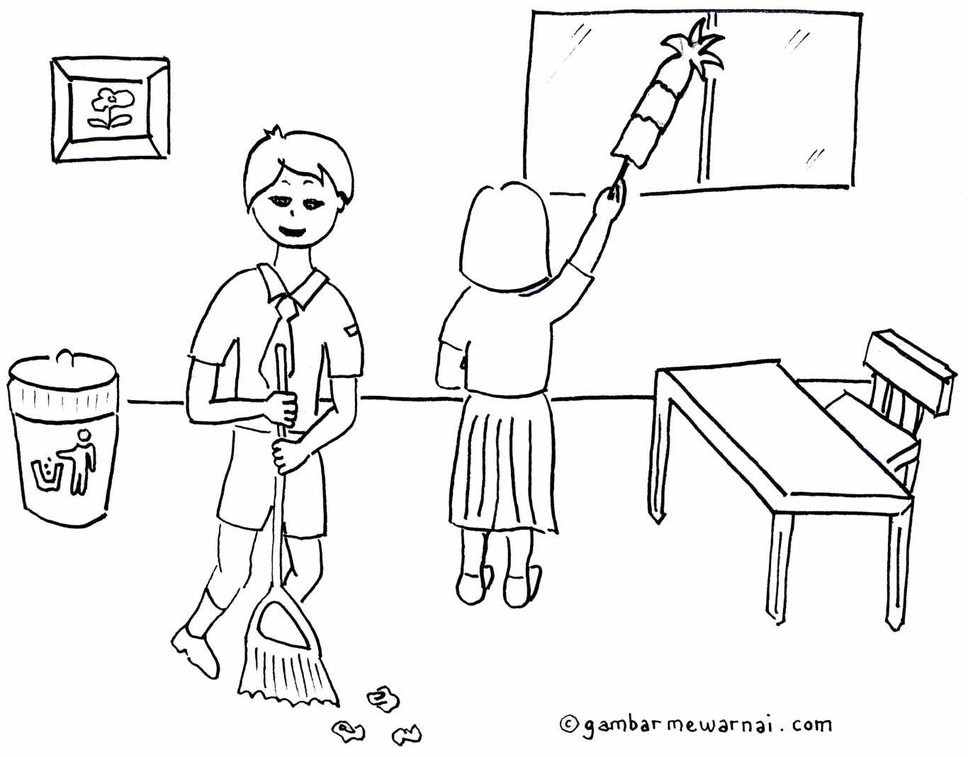 Gambar Mewarnai Kebersihan Lingkungan Sekolah Coloring For Kids Colouring Anton Kindergarten Projects