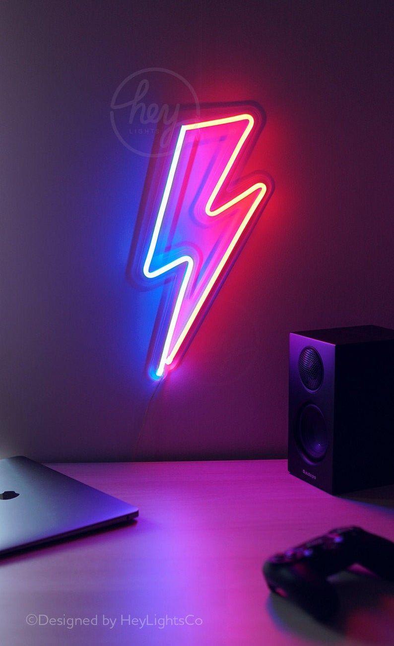 Bowie Lightning Bolt LED Neon Sign | David Bowie s