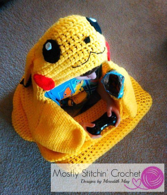 Cuddle-Up Pikachu Amigurumi Snuggle Blanket; CROCHET PATTERN; PDF ...