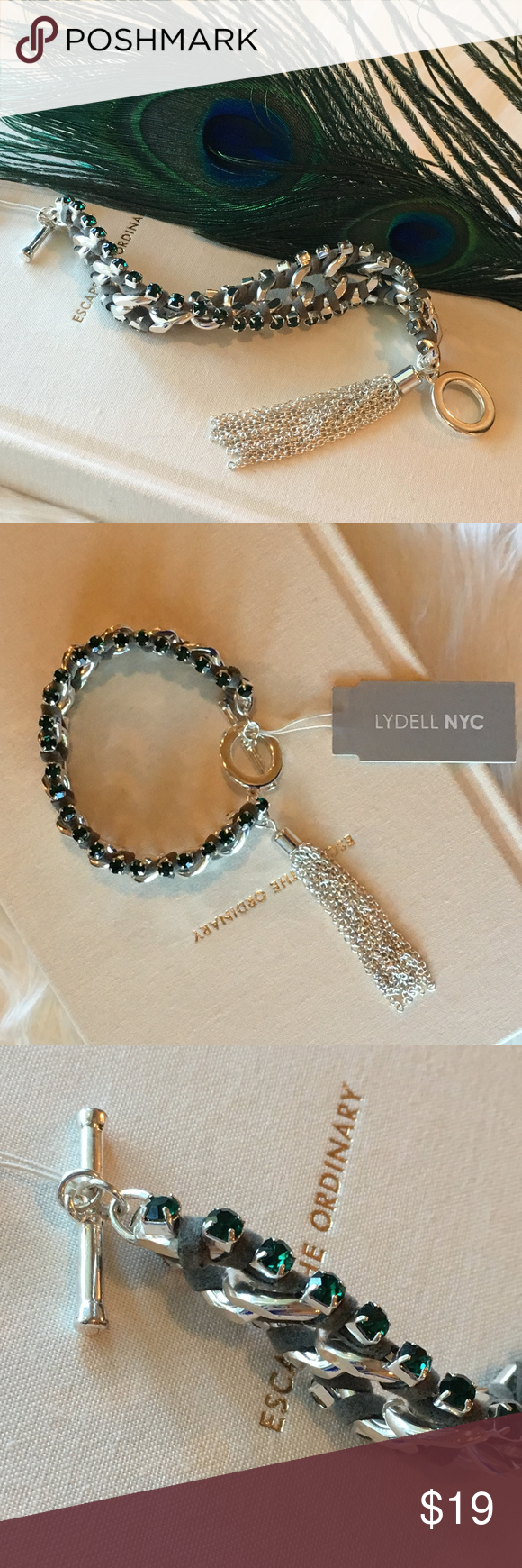 NEW Lydell NYC Link Suede Crystal Tassel Bracelet Nyc