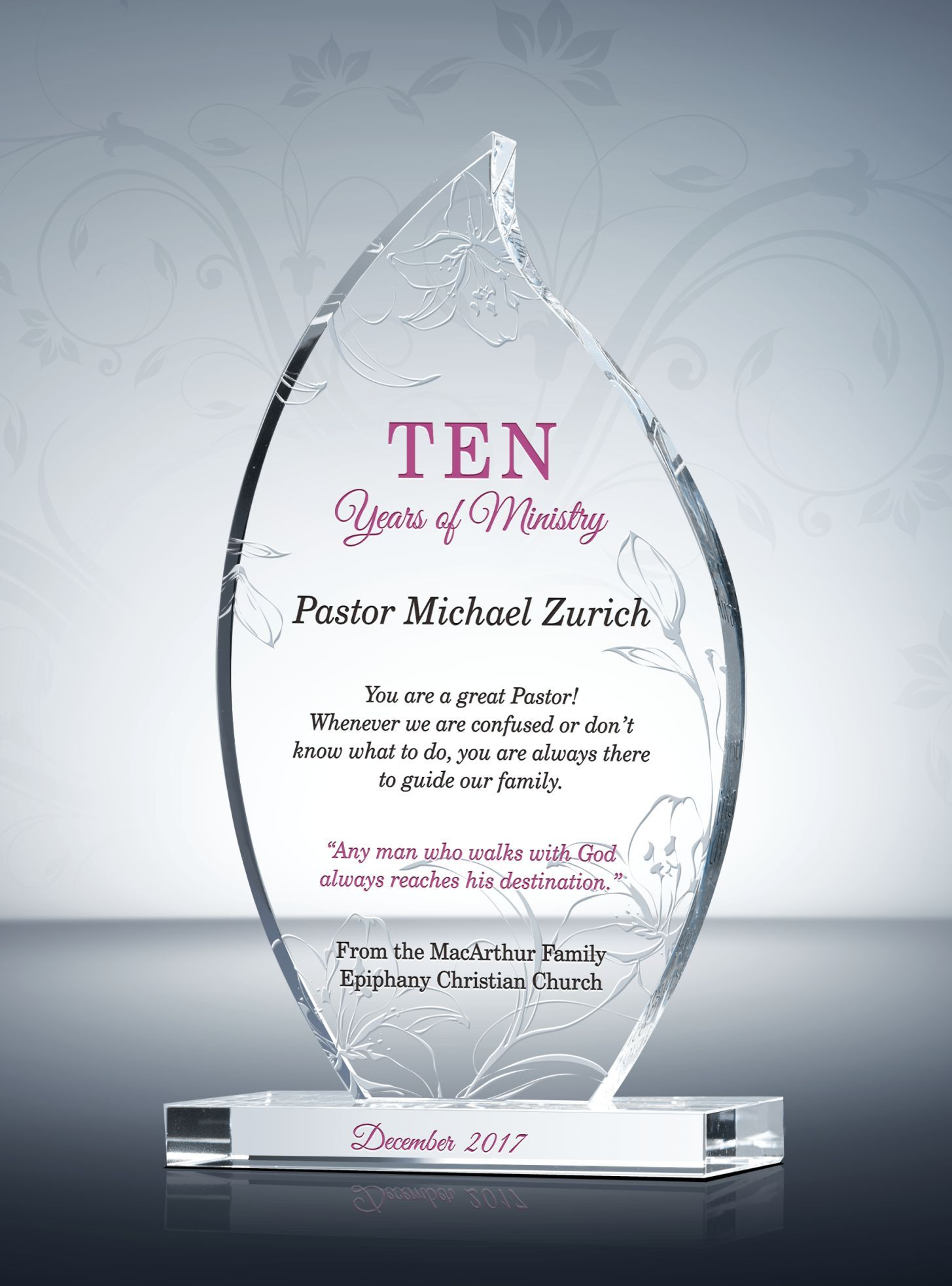 10th Pastoral Anniversary Gift Plaque Gifts For Pastors Pastor Appreciation Day Anniversary Gifts