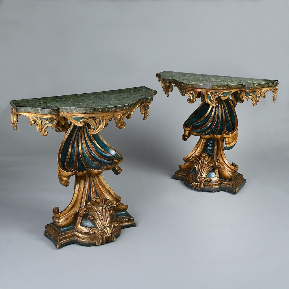 C1720 Pair Of Roman Console Tables An Unusual Pair Of Roman Parcel