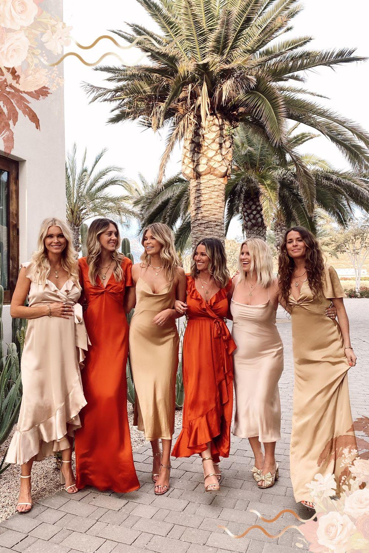 Mix Match Bridesmaid Dresses In Burnt Orange And Champagne Mix Match Bridesmaids Dresses Mix Match Bridesmaids Bridesmaid [ 1500 x 1000 Pixel ]